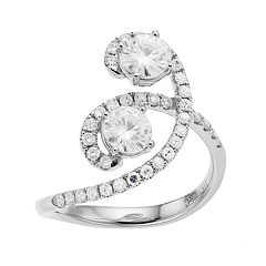 Forever Brilliant 14k White Gold 1 3/8 Carat T.W. Lab-Created Moissanite 2-Stone Ring
