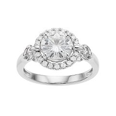 Forever Brilliant 14k White Gold 1 5/8 Lab-Created Moissanite Halo Engagement Ring