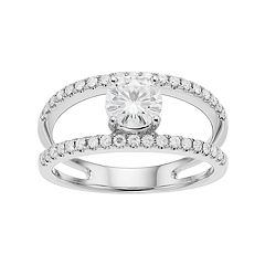 Forever Brilliant 14k White Gold 1 1/5 Carat T.W. Lab-Created Moissanite Split Shank Ring