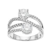 Forever Brilliant 14k White Gold 2 1/6 Carat T.W. Lab-Created Moissanite 2-Stone Ring