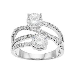 Forever Brilliant 14k White Gold 2 1/6 Carat T.W. Lab-Created Moissanite 2-Stone Ring