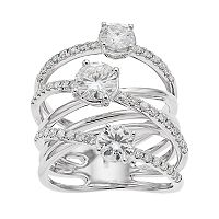 Forever Brilliant 14k White Gold 2 1/4 Carat T.W. Lab-Created Moissanite 3-Stone Crisscross Ring