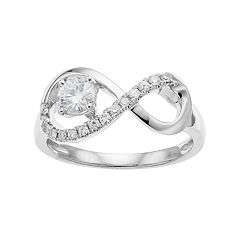 Forever Classic 14k White Gold 1/2 Carat T.W. Lab-Created Moissanite Infinity Ring