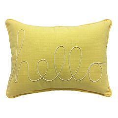 ''Hello'' Rope Applique Oblong Throw Pillow