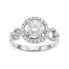 Forever Brilliant 14k White Gold 1 3/8 Carat T.W. Lab-Created Moissanite Halo Engagement Ring