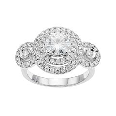 Forever Brilliant 14k White Gold 1 5/8 Carat T.W. Lab-Created Moissanite Double Halo Engagement  Ring