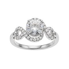 Forever Brilliant 14k White Gold 1 1/2 Carat T.W. Lab-Created Moissanite Halo Engagement Ring