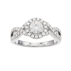 Forever Brilliant 14k White Gold 9/10 Carat T.W. Lab-Created Moissanite Halo Engagement Ring