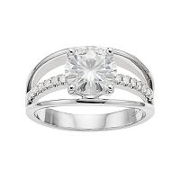 Forever Brilliant 14k White Gold 2 Carat T.W. Lab-Created Moissanite 3-Row Ring