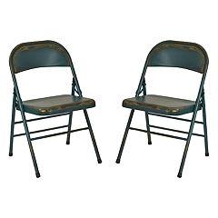 OSP Designs Bristow Metal Folding Chair 2-piece Set