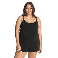 Plus Size Great Lengths D-Cup Blouson Swim Romper