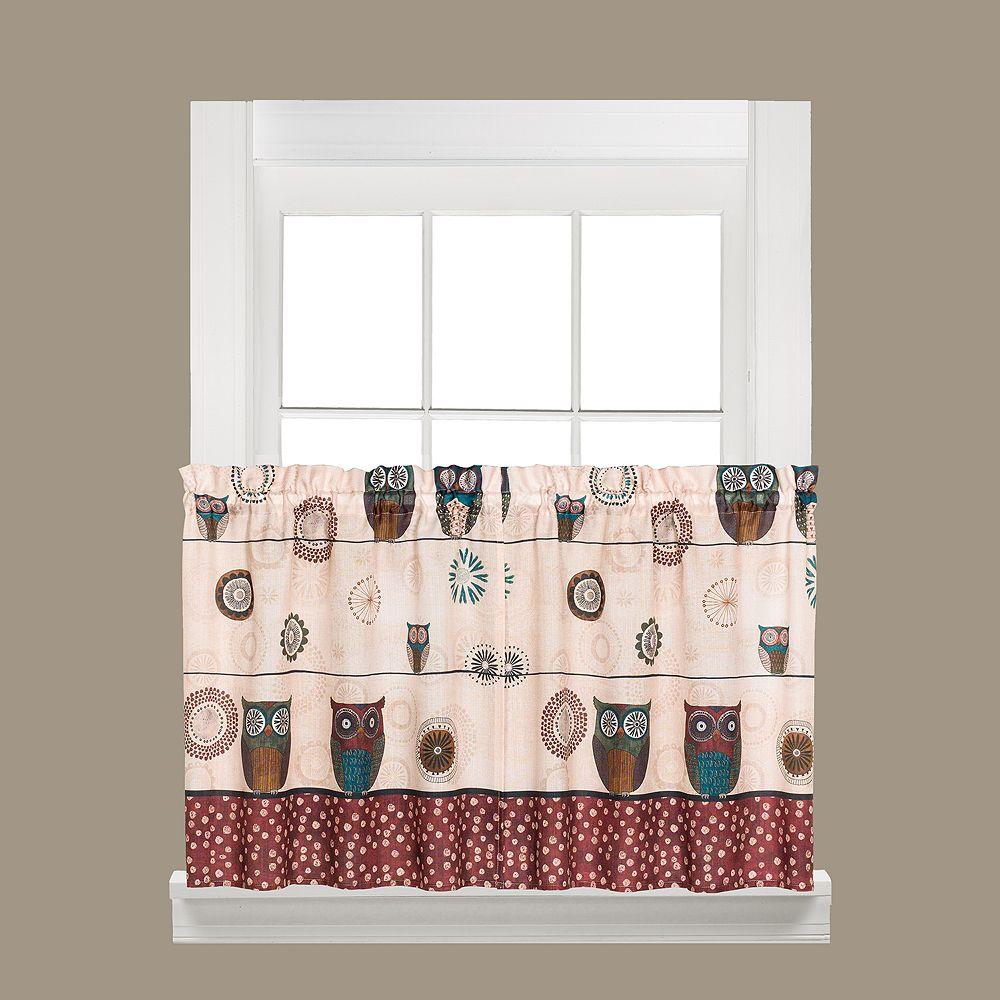 Saturday Knight, Ltd. Spice Owl Tier Kitchen Window Curtain Set