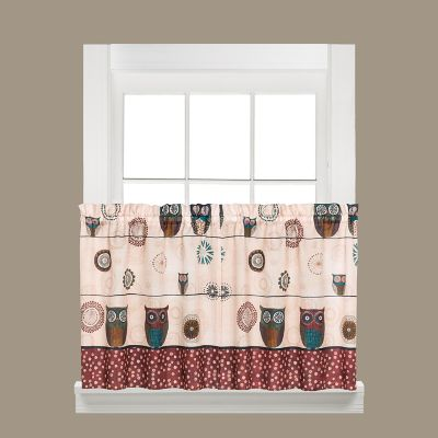 Saturday Knight, Ltd. Spice Owl Tier Kitchen Window Curtain Set