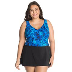 Plus Size Great Lengths D-Cup Surplice Swimdress