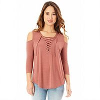 Juniors' IZ Byer Lace-Up Cold Shoulder Top