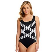 Women's Great Lengths D-Cup Striped One-Piece Swimsuit