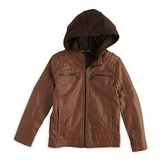 Boys 8-20 Urban Republic Faux-Leather Hooded Jacket