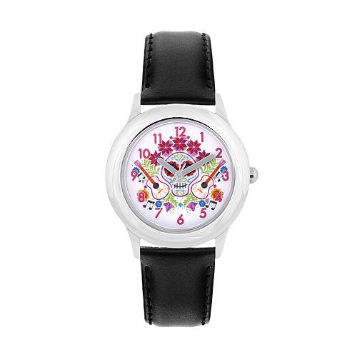 Disney•Pixar Coco Kids' Sugar Skull & Guitars Leather Watch