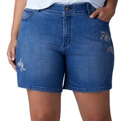 Plus Size Lee Cora Embroidered Denim Shorts