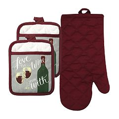 The Big One® Love Wine Oven Mitt & Pot Holder 3-pack