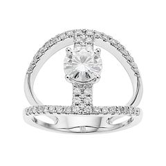Forever Brilliant 14k White Gold 1 3/8 Carat T.W. Lab-Created Moissanite Split Shank Ring