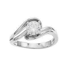 Forever Classic 14k White Gold 3/4 Carat T.W. Lab-Created Moissanite Bypass Ring