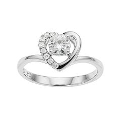 Forever Brilliant 14k White Gold 5/8 Carat T.W. Lab-Created Moissanite Heart Engagement Ring