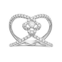 Forever Brilliant 14k White Gold 1/2 Carat T.W. Lab-Created Moissanite Split Shank Clover Ring