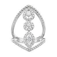 Forever Brilliant 14k White Gold 1 Carat T.W. Lab-Created Moissanite Geometric Ring