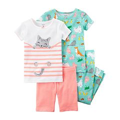 Girls 4-12 Carter's 4-Piece Hiding Kitty  & Pets Tees & Bottoms Pajama Set