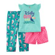 "Girls 4-14 Carter's ""Totally Cute in my Jammies"" Top, Bottoms & Shorts Pajama Set"