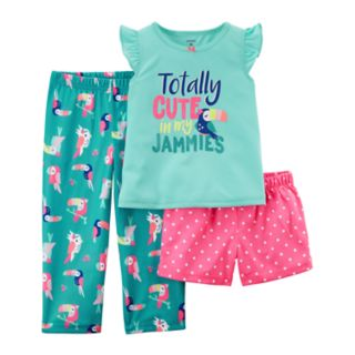 """Girls 4-14 Carter's """"Totally Cute in my Jammies"""" Top, Bottoms & Shorts Pajama Set"""