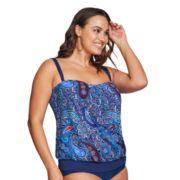Plus Size Mazu Swim D-Cup Paisley Blouson Tankini Top