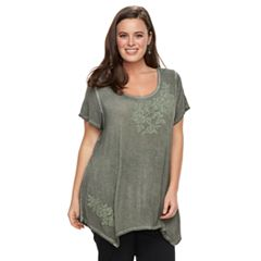 Plus Size World Unity Floral Sharkbite Top