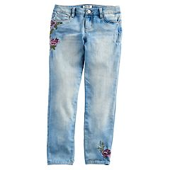 Girls 7-16 Mudd® Floral Embroidered Relax Fit Ankle Jeans