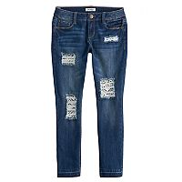 Girls 7-16 Mudd® Crochet Destructed Raw Hem Skinny Ankle Jeans
