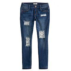 Girls 7-16 Mudd® Crochet Destructed Raw Hem Skinny Ankle Jeans