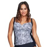 Plus Size Mazu Swim Ruched Snakeskin Tankini Top