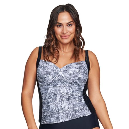 04fc9b19384b9 Plus Size Mazu Swim Ruched Snakeskin Tankini Top