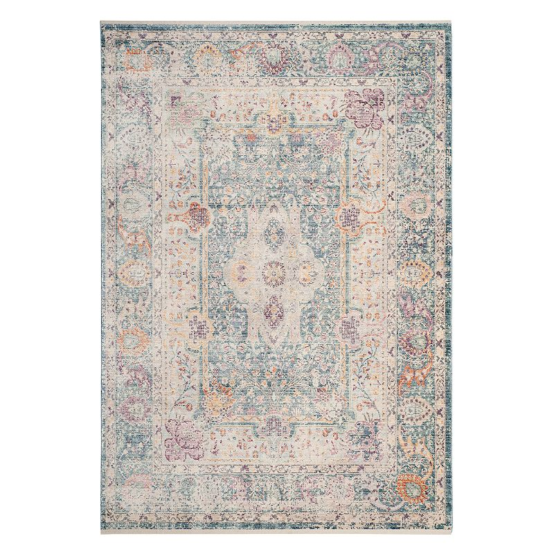 Safavieh Illusion Layla Framed Floral Rug, Turquoise/Blue, 6X9 Ft Product Image