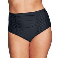 Plus Size Mazu Swim Ruched High-Waisted Bikini Bottoms