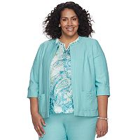 Plus Size Alfred Dunner Studio Embellished Open Front Jacket
