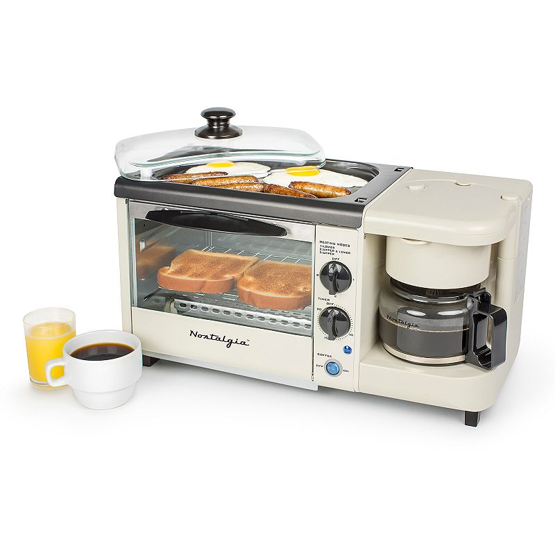 Nostalgia Electrics 3-in-1 Breakfast Station Make a complete breakfast meal with this Nostalgia Electrics breakfast station. 4-cup coffee maker with reusable coffee filter Multi-function toaster oven bakes, broils, toasts and reheats food quickly Nonstick griddle includes glass cover with cool touch handle Oven tray, wire rack, crumb tray and griddle remove for easy cleaning Quick-heating and energy efficient appliance Removable water reservoir 30-minute timer Power indicator light 12.28 H x 9.84 W x 18.43 D Manufacturer's 1-year limited warrantyFor warranty information please click here Up to 1450 watts Hand wash Plastic, metalModel no. BSET100BC  Size: One Size. Color: Multicolor. Gender: unisex. Age Group: adult.