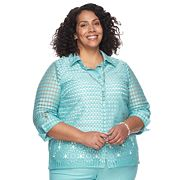 Plus Size Alfred Dunner Studio 3 pc Sheer Blouse & Necklace Set