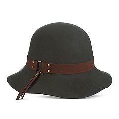 Women's Scala Faux Suede Trim Raw Edge Cloche Hat
