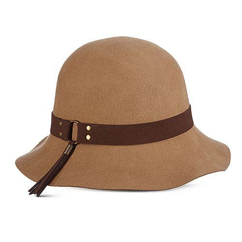 Women's Scala Faux Suede Trim Raw Edge Cloche Hat