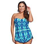 Plus Size Mazu Swim Shirred Skater Swimdress