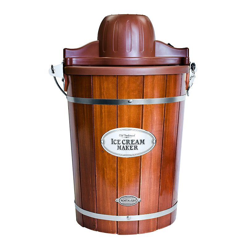 Nostalgia Electrics 6-qt. Ice Cream Machine with Wood Bucket Engage in a homemade experience supported by modern convenience with this Nostalgia Electrics ice cream machine. Makes 6 quarts of ice cream, frozen yogurt or gelato Powerful electric motor does all the churning See-thru lid for easy viewing and freezer storage Motor locks into place keeping all parts secure Convenient carrying handle Real wood construction Easy-to-clean plastic liner Recipes included in manual BPA free 19.75 H x 13 W x 13 D6-qt. capacity Manufacturer's 1-year limited warrantyFor warranty information please click here Up to 50 watts Hand wash Plastic, metalModel no. ICMP600WD  Size: One Size. Color: Multicolor. Gender: unisex. Age Group: adult.