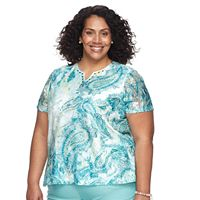Plus Size Alfred Dunner Studio Paisley Splitneck Top