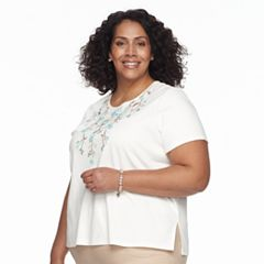 Plus Size Alfred Dunner Studio Embroidered Floral Top